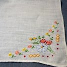 Antique hand embroidered linen hanky sweet floral corner ll1457