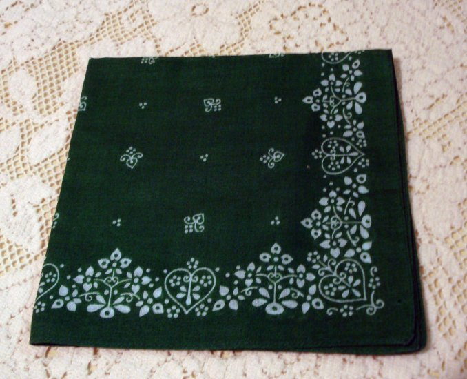 Emerald green printed linen hanky vintage ll1458