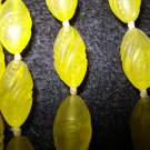 Lemon yellow carved plastic beads rope necklace translucent mid century vintage jewelry ll1459