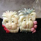 Vintage celluloid pair of Scottie dogs pin brooch cold painted Occupied Japan ll1678