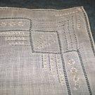 Antique white linen wedding hanky fine embroidery threadwork ll1689