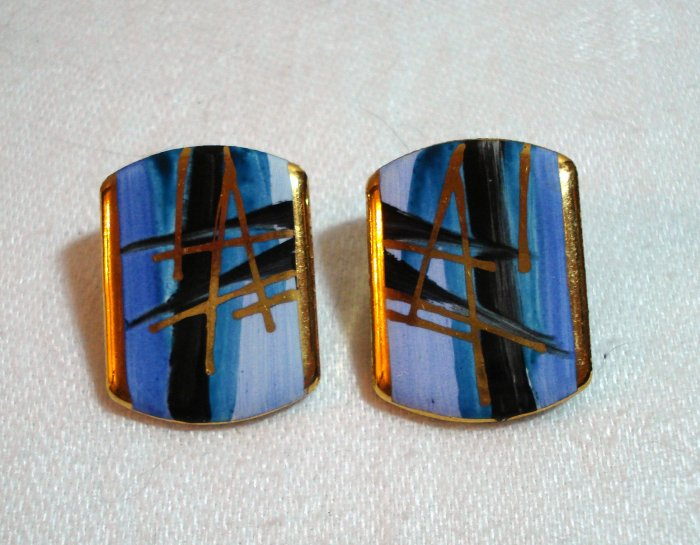 Painted ceramic earrings gold accents abstract pierced ears vintage jewelry ll1937