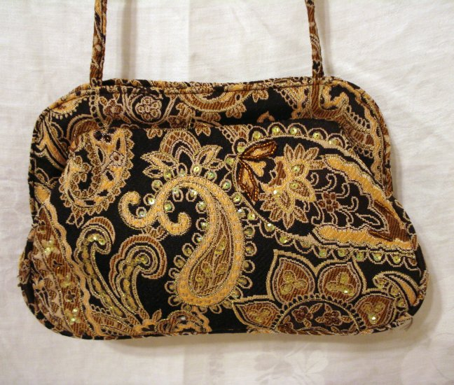 Brocade paisley evening bag sequins beads convertible strap Marci Avane vintage accessories ll2086