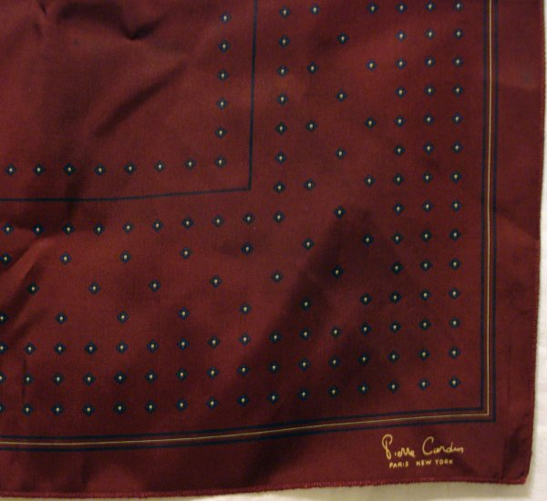 Pierre Cardin mans burgundy ascot pocket puff synthetic vintage accessories ll2089