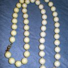 White plastic beads rope necklace hand knotted vintage jewelry ll2100