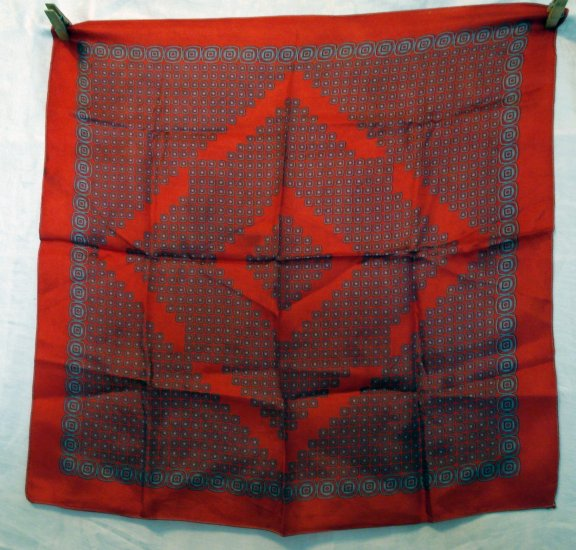 Printed red silk square scarf near antique unisex vintage scarves ll2110
