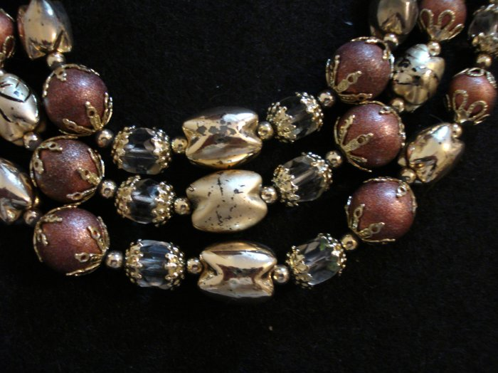 Triple strand plastic bead necklace faceted crystal frosted painted vintage costume jewelry ll2125