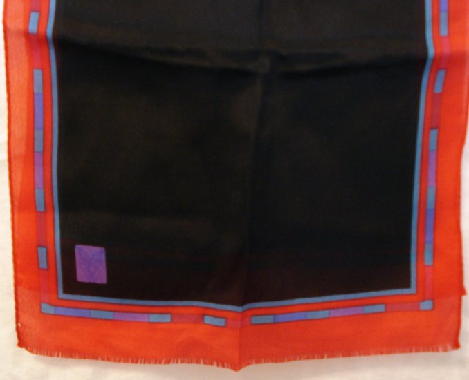 Long silk scarf black with red border self fringe ends vintage scarves ll2129