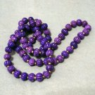 Carved bone bead rope necklace plum purple vintage jewelry ll2048