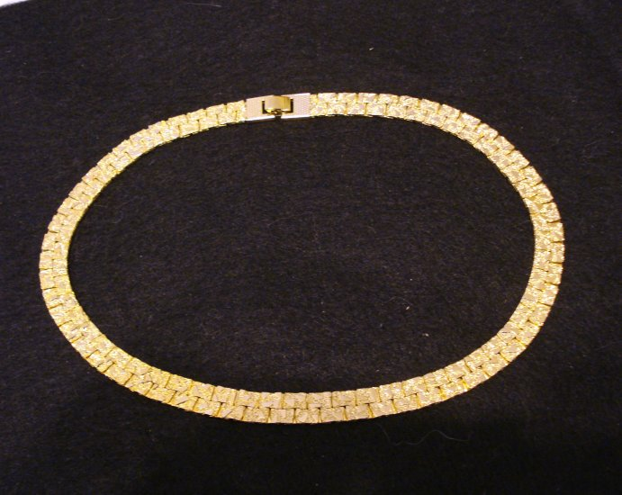Liberty House gold plated necklace textured flat links vintage costume jewelry  ll2137