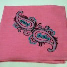 Embroidered paisleys hot pink linen hanky ethnic look vintage hankies ll2143