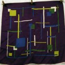 Mondrian style scarf abstract design acetate purple vintage  ll2152