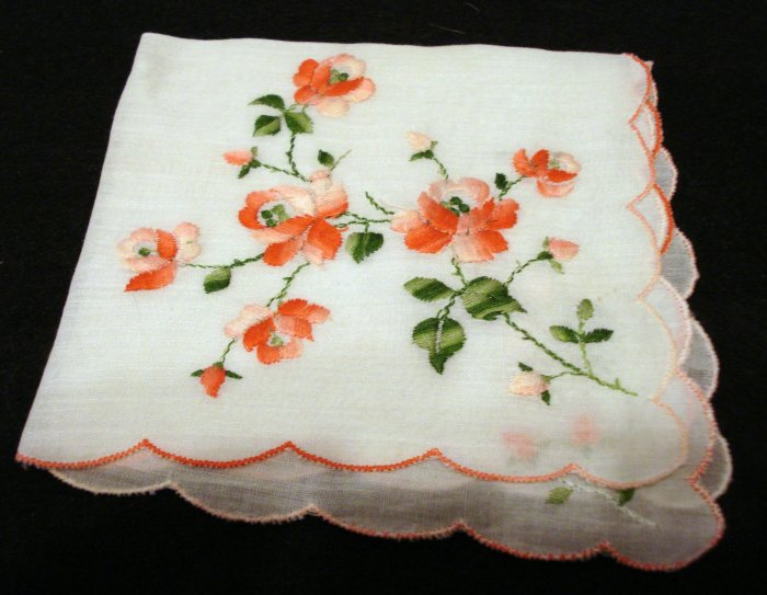 Rose embroidered linen hanky scalloped hem vintage hanky ll2155