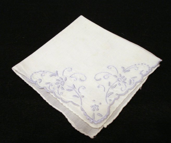 Handmade white hanky baby blue embroidery rolled hem elegant antique hankies ll2160