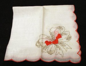 Lover's hanky white linen embroidered bows and red hearts vintage hankies ll2165