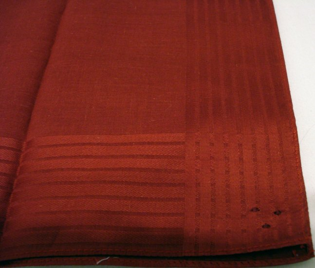 Man's brick red cotton kerchief hanky woven border vintage hankies ll2174