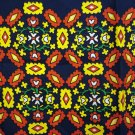 Tulips and diamonds on navy red silk scarf rolled hem vintage scarves ll2179