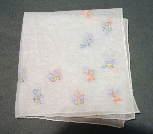 Embroidered butterflies handmade hanky rolled hem vintage hankies ll2189