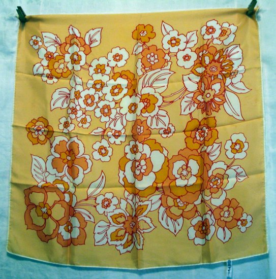 La Dear acetate flower power scarf orange sherbet red white vintage scarves ll2206