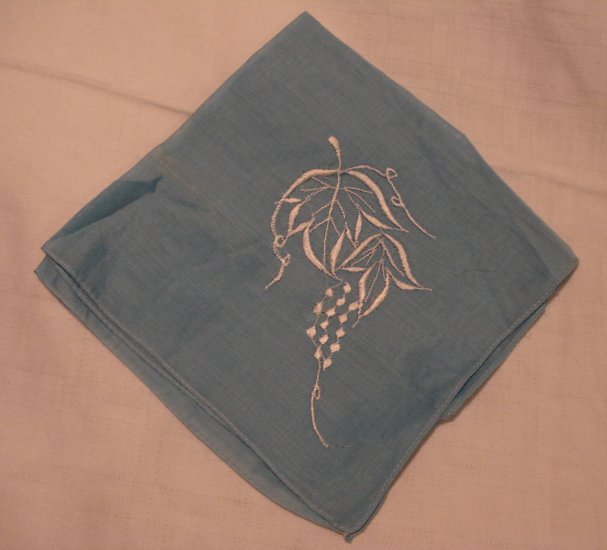 2 Embroidered hankies lavender and blue unused vintage hanky ll2213