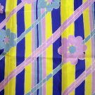 Flower power acetate scarf aqua yellow royal mauve unused vintage scarves ll2225
