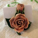 Rose beige rose and bud brooch and pin hand made perfect vintage ll2229