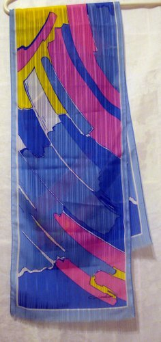 Giordani long abstract art scarf self fringed ends pink blue vintage  ll2240