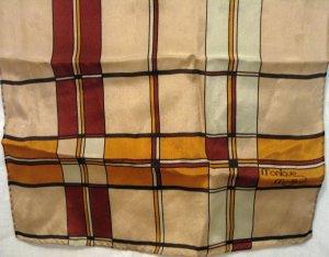 Long silk scarf neutral colors Monique Martin vintage ll2253