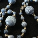 Shades of blue and silver rope necklace plastic beads vintage ll2272