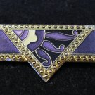Art Deco style pin brooch shades of purple cloisonne silver tone perfect vintage ll2282
