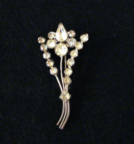 Rhinestone pin brooch floral spray silver tone Art Deco vintage ll2294