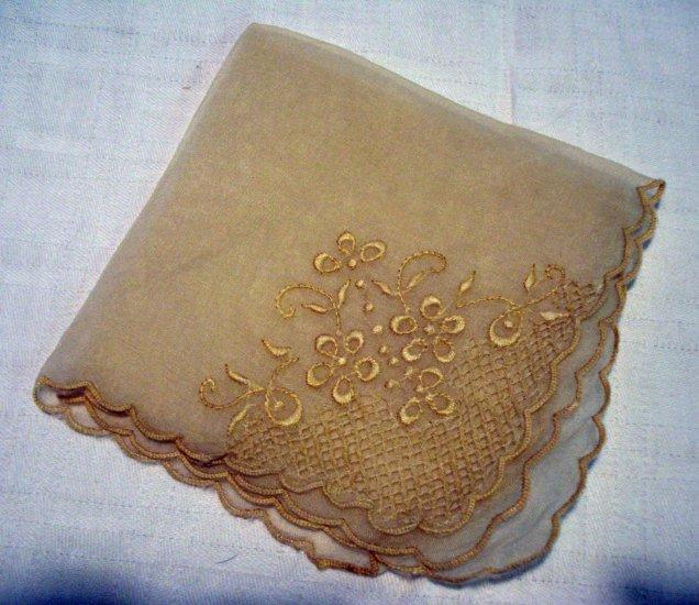 Sheer fancy hanky embroidered unused vintage ll2300
