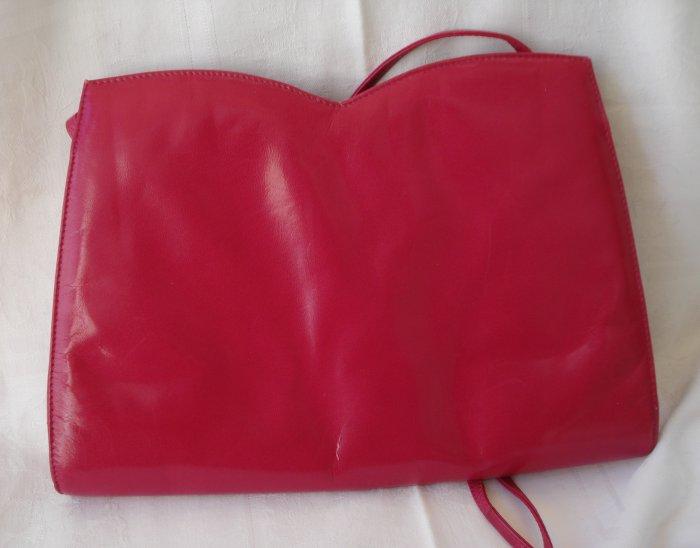 Ro-el made for Ingledews magenta kidskin shoulder bag clutch purse excellent vintage ll2310