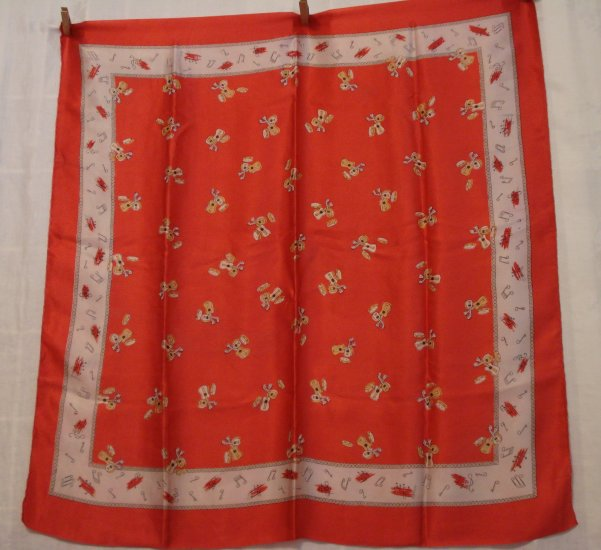 Guitars, mandolins and tamborines on red silk satin large vintage scarf rolled hem ll2322