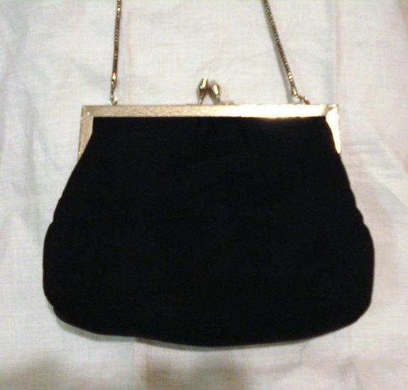 Du-Val rayon twill evening bag wrist strap black silver frame handmade vintage ll2325