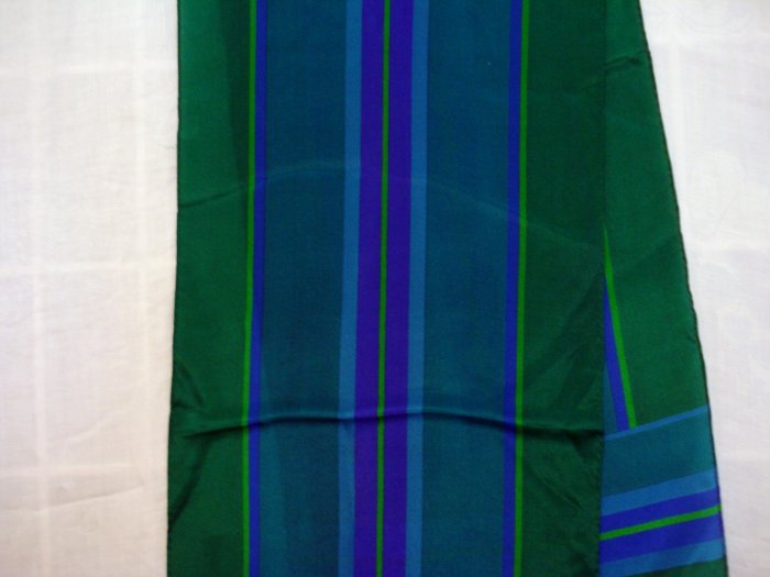 Liz Claiborne long silk scarf jewel tone stripes greens purple blues vintage ll2326