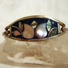 Silver abalone cloisonne hinged bangle bracelet small vintage ll2332
