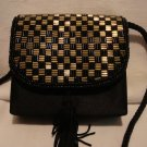 Black satin evening bag gold and black bugle beads rope strap unused vintage ll2334