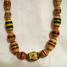 Hand painted wood bead rope necklace 33 inches vintage ll2345