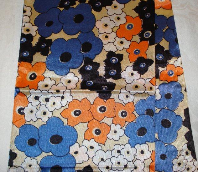 1960s Long acetate coat scarf or obi mod flower power vintage ll2353