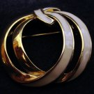 Monet gold and white enamel pin brooch as new preowned ll2378