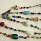 Free spirit Art glass bead rope necklace vintage ll2384