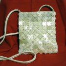 Jeanne Lottie mother of pearl discs white satin evening bag shoulder strap unused vintage ll2386