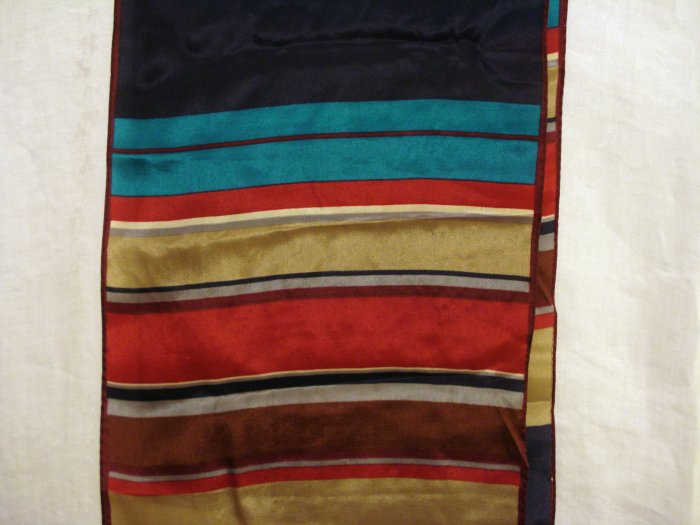 Anne Klein long silk scarf broad horizontal multi color stripes vintage ll2388