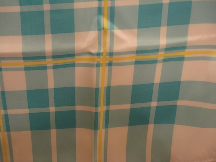 La Dear turquoise and aqua plaid scarf polyester unused vintage ll2399