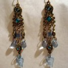 Antique look chandelier earrings blue stones pierced vintage ll2402