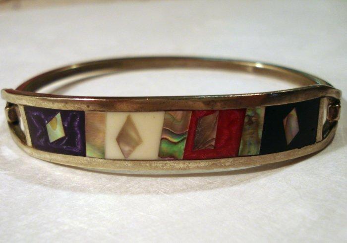 Silver abalone, onyx hinged bangle bracelet vintage ll2403