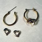 Removable hearts on hoops 3-way earrings silverplate pierced vintage ll2406