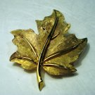 Boucher signed gold plate leaf pin brushed and satin finish vintage ll2410