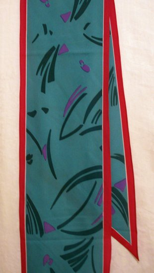 Monique Martin long bias cut polyester scarf turquoise hot pink excellent vintage ll2426